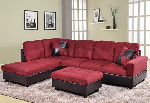 Best Beverly Fine Furniture Andes Microfiber with Faux Leather Sofa Set With Ottoman, Red Raspberry