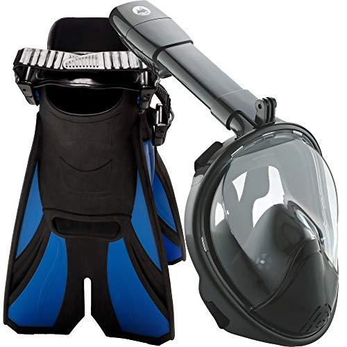 cozia design Snorkel Set with Full Face Snorkel Mask and Travel Adjustable Swim Fins (Black, Small/Medium)