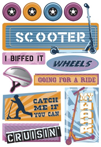 Karen Foster Design - Stickers - Bikes and Scooters Collection - Kids Scooters