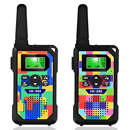Kids' Walkie Talkies,3 KM Long Range Walkie Talkie Toys with 8 Channels, 2 Way Radios, LED Flashlight, Gifts for Boys & Girls to Play with Family and Friends (2pack-Mixed Square Color)