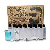 Mazanis 15 x 100 ml Liquid Flasche im Set mit 100 ml Messbecher + Trichter + 15 selbstklebenden Etiketten + 10 ml Spitze + Mischtabelle - Tropfflasche zur Handhabung von Flüssigkeiten