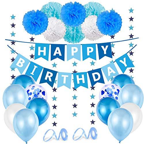 O-Kinee Decoration Anniversaire Garcon, Ballons Anniversaire Bleu, Banniere Joyeux Anniversaire, 1er Anniversaire Garcon Deco, Ballons Bleu et Pompons Papier pour Enfant Fête