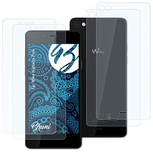Bruni Schutzfolie kompatibel mit Wiko Highway Pure Folie, glasklare Bildschirmschutzfolie (2er Set)