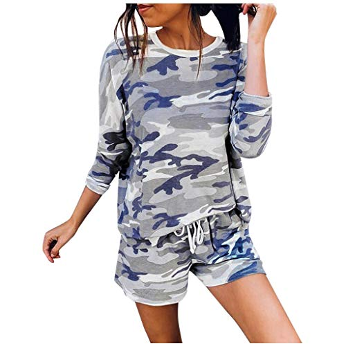 Battnot Damen Trainingsanzug Sommer Pyjama Set Elegant Camouflage Top+Shorts 2-teiliges Langarm Freizeit Hausanzug, Frauen Sportanzug Jogginganzug Wellnessanzug Womens Casual Outfit Loungewear