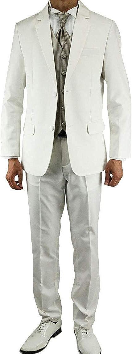 Wonder Stage Men's Slim Fit 4 Pc White Tuxedo Suit Jacket Pants Vest Ascot Tie