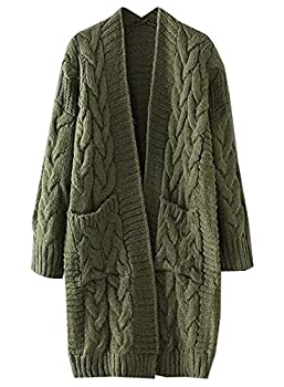 futurino Women s Chunky Twist Knitted Open Front Patch Pocket Long Cardigan Oversized Coat Olive