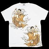 和柄刺青Tシャツ(半袖) [暴れ鯉]【刺青シリーズ】 (L 身幅54 着丈70 肩幅50 袖丈19 (cm))