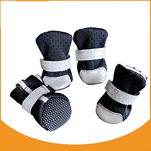 Hundeschuhe Schutzstiefel Mesh-Breathable Haustier-Schuhe und robuste Anti-Rutsch-Sohle geeignet für Indoor-Abnutzung, Fit XS bis Extra Large Hunde Katzen,Schwarz,S