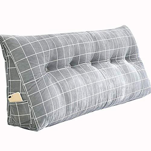 DUHUI Almohada de Lectura, La Almohada del sofá, Almohada de cuña para la Cama y el sofá, Respaldo, Almohada Lumbar, Extraíble (Color : Gray, Size : 200 * 50 * 20cm)
