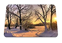 26cmx21cm マウスパッド (木雪トレース冬の太陽光) パターンカスタムの マウスパッド