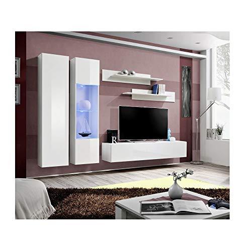 Banc TV avec LED - 5 éléments - Blanc