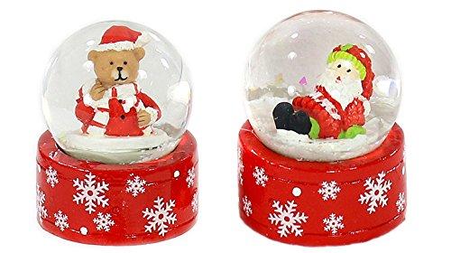 Dekohelden24 Mini-Schneekugel Weihnachtsmann/Teddybär im 2er Set, Maße H/B/Ø Kugel: ca. 5 x 3,5 cm/Ø 3,5 cm.