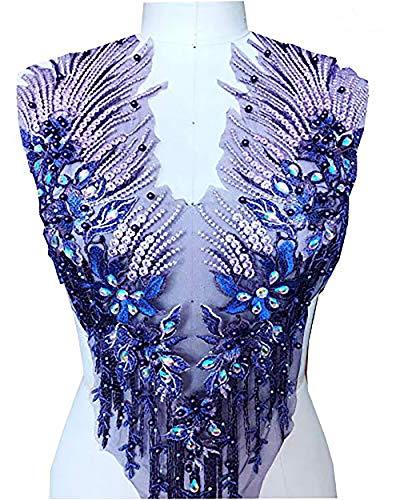 Apliques de encaje con cuentas 3D bordadas con diamantes de imitación florales para adornar bodas, vestido de fiesta de novia A2AB (A, púrpura)