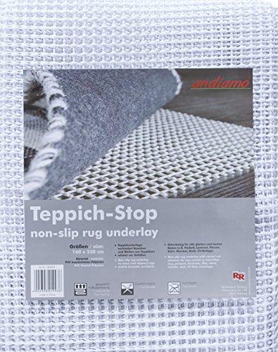 andiamo Teppich-Stop Antirutschmatte Teppichgleitschutz Teppichunterlage Haftgitter Rutschschutz, PVC beschichtetes Polyester, rutschhemmend zuschneidbar pflegeleicht strapazierfähig, weiß,160x230cm