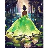 Nueva costura Lotus-Leaf Girl Diy diamante pintura 3D hecho a mano pintura decorativa punto de cruz bordado abalorios 30 * 40 CM