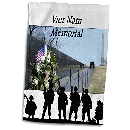 3dRose lens Art by Florene - Memorial Day - Image of Viet Nam Memorial With Silhouette Soldiers - 15x22 Hand Towel (twl_309798_1)