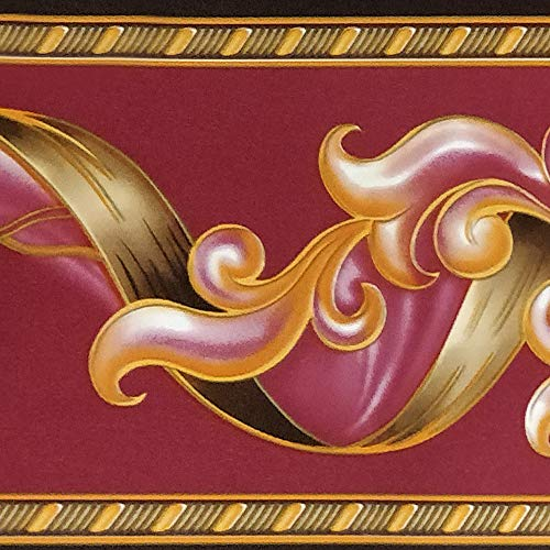 Dundee Deco BD3204 Peel and Stick Abstract Damask Scroll Magenta Burgundy Wallpaper Border Retro Design, Roll 33 ft. x 4 in. (10m x 10cm), Self Adhesive