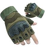 Guantes Militares Tacticos Sin Dedos, Guantes Táctiles de Moto Deportivos Verano Hombres para Moto Ciclismo Deportes(Verde Militar,XL)