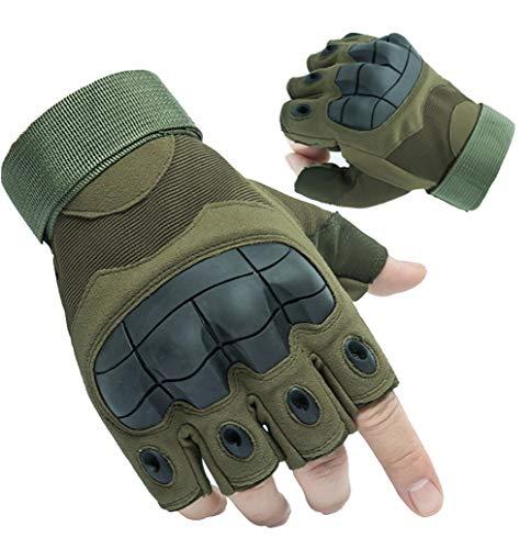 Guantes Militares Tacticos Sin Dedos, Guantes Táctiles de Moto Deportivos Verano Hombres para Moto Ciclismo Deportes(Verde Militar,L)