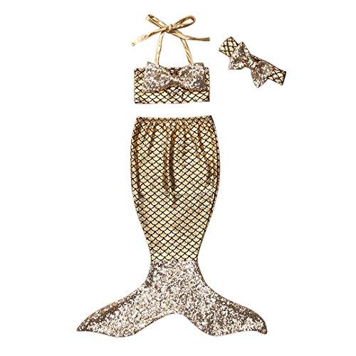 Bebé Niñas Niños Traje de Baño Traje de Colas de Sirena para Princesa Traje de baño Bikinis Falda Conjunto de Sombreros 0-9 Años (70 (6-12 Meses), B-Oro)