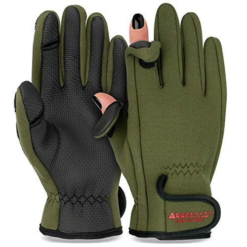 Thermo Angelhandschuhe 'Spin'   Neopren Angel Handschuhe   Anglerhandschuhe   Fishing Gloves - Oliv - XL