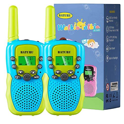 BATURU Kids Walkie Talkies Boys 2 Pack, 3 Miles Long Range Two Way Radio for Outdoor Camping Game, Boys Toys Age 5 6 7 8 9 10