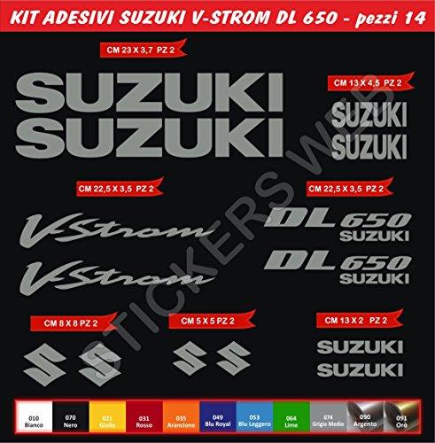 Pimastickerslab Suzuki DL650V-Strom Selbstklebende Aufkleber Vstrom-Set 14Teile?SCEGLI Colore- Motorrad Cod. 0084 - Grigio Medio cod. 074