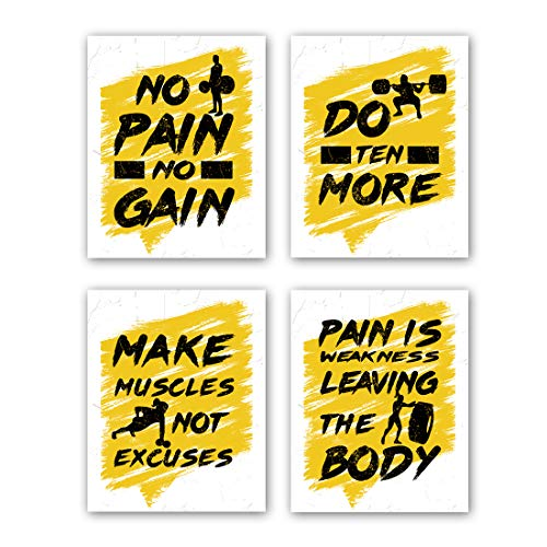 "HPNIUB Gym Art Prints, Set of 4 (8""X10"",Inspirational Quotes Wall Decor, Exercise Canvas Posters Motivational Pictures Work Out Signs for Gym Recreation Decor, No Frame"