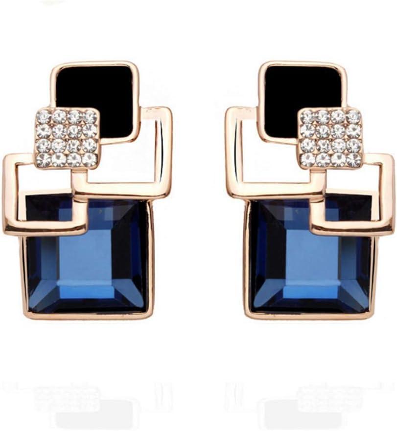 Peigen Long Square Crystal Earring,Vintage Square Crystal Geomet