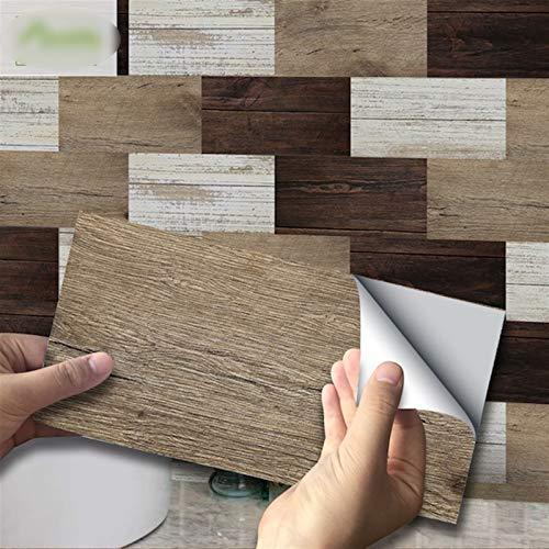 Lianlili Etiqueta de Pared a Prueba de Agua Polímero Blanco Grano de Madera DIY Etiquetas engomadas de Azulejos autoadhesivos y Decoraciones de Muebles de Cocina
