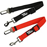 Ezee Paws Dog Seat Belt Safety Harness Lead for Car Vehicle Adjustable (2-Pack) (Black-Red)