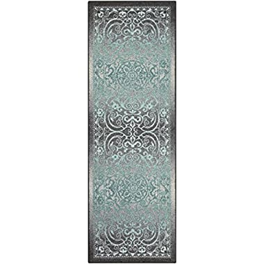 Maples Rugs Runner Rug - Pelham 2' x 6' Non Skid Hallway Carpet Entry Rugs Runners [Made in USA] for Kitchen and Entryway, Grey/Blue