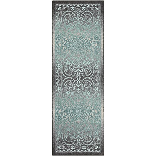 Maples Rugs Pelham Vintage Runner Rug Non Slip Hallway Entry Carpet [Made in USA], 2 x 6, Grey/Blue