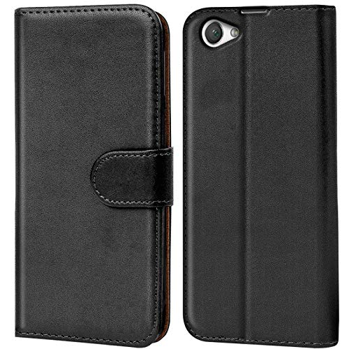 Verco Xperia Z1 Compact Hülle, Handyhülle für Sony Xperia Z1 Compact Tasche PU Leder Flip Hülle Brieftasche - Schwarz