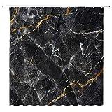 Tingrun Marmor Duschvorhang Granit & Golden Cracked Lines Frakture Stripes Vintage Artistic Natural Abstrakt Picture Fabric Bathroom Curtain Set 180 x 180 cm mit Haken