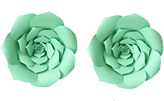 LG-Free 12 inch 2pcs Green Party Paper Flower Backdrop DIY Handemade Flower Wall Backdrop Decoration Wedding Rose Flower for Nursey Birthday Home Decor (2pcs, 12inch-Lt-Green)