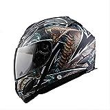 AR-Meitonsy Crâne d'impression Moto Intégraux Casque d'équitation Hommes Femmes Rue Moto Motor Bike Racing Casque 4 XL