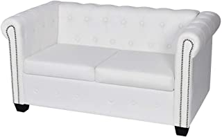Anself Artificial Bonded Leather Chesterfield 2-Seater Sofa White