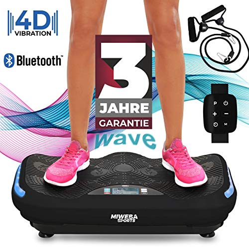 Miweba Sports Fitness 4D Wave Vibrationsplatte MV300-3 Jahre Garantie - Armband Fernbedienung - Wave Design - 800 Watt - Bluetooth Lautsprecher - Trainingsbänder - Led - große Trittfläche (Black)