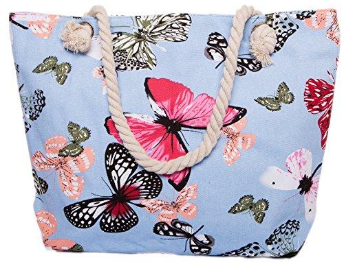 CAPRIUM Strandtasche mit Schmetterling Muster, Schultertasche, Shopper, Reißverschluss, Damen 0009000 (Hellblau)
