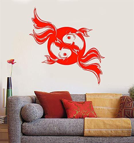 Bureau classe classe motivation inspirante citation famille amour vinyle dire Koi Karp Poisson Japonais Style Asiatique Yin Yang