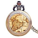 World Map Pocket Watch Vintage Nautical Sailor Pirate Treasure Map Handmade Pocket Watch with Necklace Chain