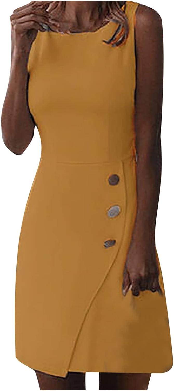 ameIAEA Women Summer Sleeveless Casual Solid O-Neck Knee-Length Bodycon Dress Formal Slimming Business Sheath Pencil Dress