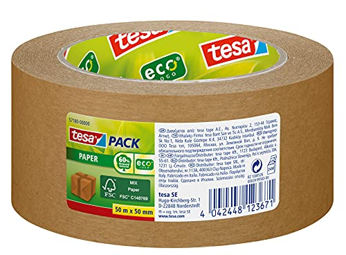 tesapack Paper ecoLogo - Umweltgerechtes Paketband aus Papier, 60 Prozent biobasiertes Material - Braun - 50 m x 50 mm