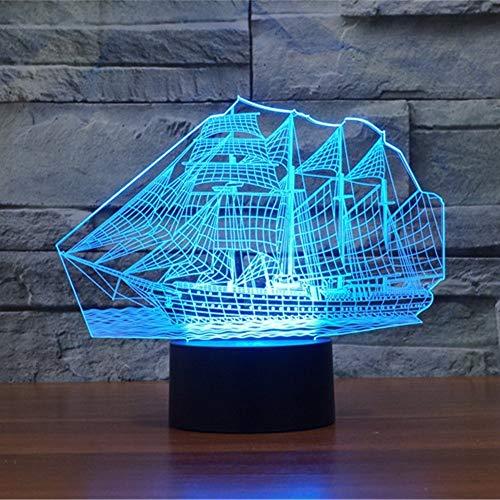Luz de noche LED para velero con ilusión 3D, lámpara de mesa USB con interruptor táctil que cambia gradualmente de 16 colores para regalos navideños o decoraciones para el hogar