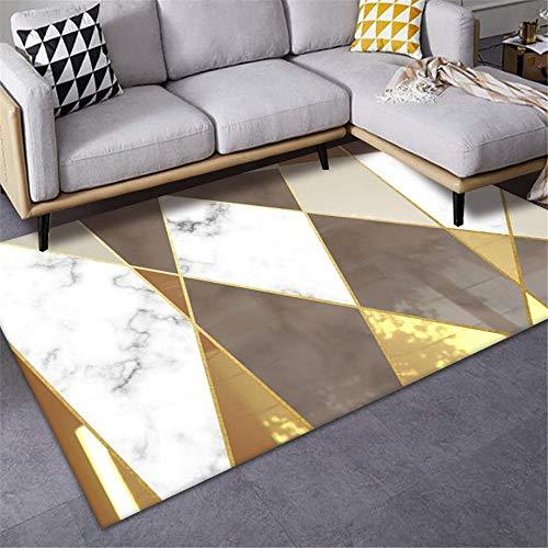 La Alfombra alfombras Pelo Corto Alfombra Suave con diseño geométrico marrón Amarillo Blanco fácil de Limpiar hogar recibidor Alfombra Infantiles 160X230CM