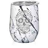 12 oz Double Wall Vacuum Insulated Stainless Steel Marble Stemless Wine Tumbler Glass Coffee Travel Mug With Lid Sugar Candy Skull (Black White Marble)