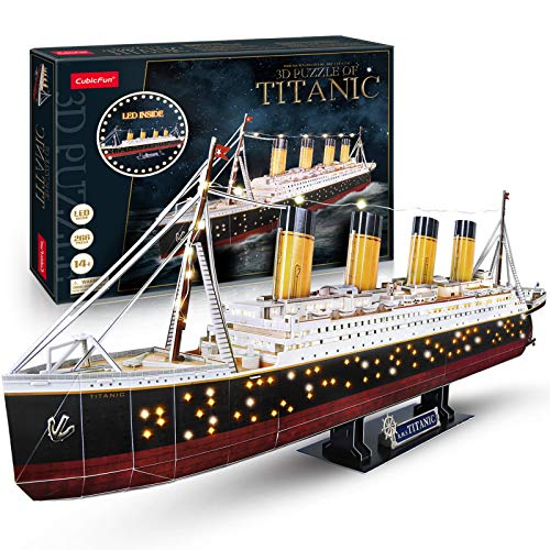 CubicFun 3D Jigsaw Puzzles for Adults LED Titanic Toys Model Kits Ship, Difficult Jigsaw Family Puzzles and Cruise Ship 3-D Puzzles Gifts Home Decoration for Kids and Adults, 266 Pieces