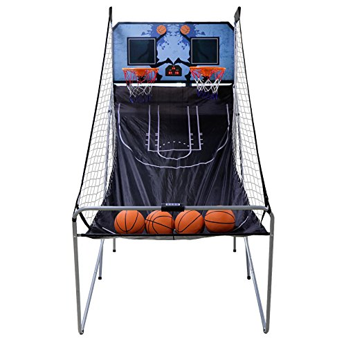 Oteymart Indoor Shoot Basketball Electronic Foldable Double Hoop Shot Basketball Arcade Game Scoreboard 2 Players with 4 Balls, Kids and Adults