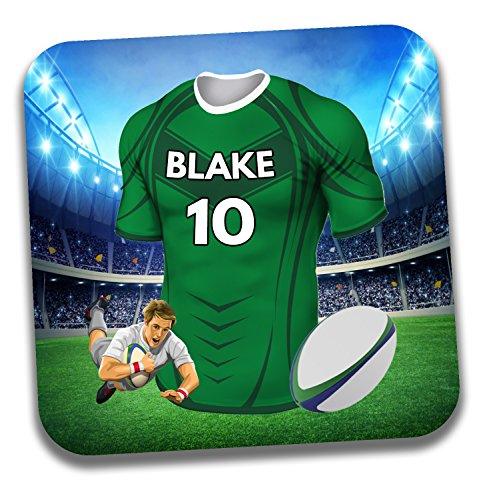 Personalisiertes Geschenk–Rugby-Shirt Mottoparty Getränke Untersetzer/Bierdeckel–Geburtstagsgeschenk–Strumpffüller–Connacht Farben